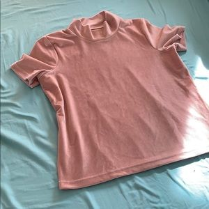 Blush Velvet Mock Neck Top